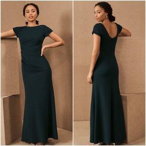 BHLDN Matisse Cap Sleeve Emerald Gown